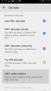 activate HW+ decoders (not the HW) then enter codecs
